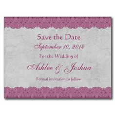 Aqua Mauve Lace Savethedate Wedding Postcards HttpWww