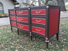 This vintage Hollywood Regency dresser is  Decadently delicious!  Who said painted furniture can't make a statement!