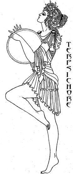 """Terpsichore  - the """"Whirler"""" is the muse of Dancing and is often seen dancing with her lyre and a plectrum, an instrument used for plucking stringed instruments. By the river god Achelous, she bore the Sirens. Art by Katlyn"""