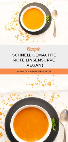 #Rezept #Linsensuppe #schnellessen #schnelleRezepte #vegan #suppe #Dinner4Friends Cantaloupe, Fruit, Food, Dried Tomatoes, Red Lentil Soup, Red Bell Peppers, Food Portions, Easy Meals, Food And Drinks