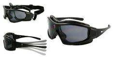 2012 New Motorcycle Protective Goggles Sunglasses with Strap and Adjustable Temple. 55665/SD(BLACK W/ DARK LENS) Edge I-Wear. $18.70