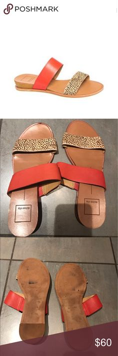 Dolce Vita slip on leopard & persimmon sandal -  6 Dolce Vita: Payne sandal in Persimmon and multi calf. has a small nick on the top of the left shoe. Size 6. Super cute and perfect for summer :) Dolce Vita Shoes Sandals