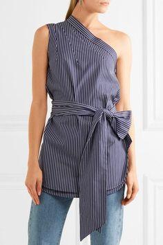 Stella McCartney - One-shoulder Pinstriped Cotton-poplin Top - Navy - IT