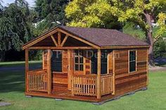 20X22 Shed with Porch Designs | 20' X 16' Cabin Shed with Porch Project Plans, Design #62016