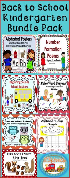 Back to School Kindergarten Bundle Pack Kindergarten Art Activities, Kindergarten Teachers, Preschool Learning, Teacher Resources, Teaching Ideas, Creative Teaching, Classroom Resources, Classroom Ideas, Instructional Planning