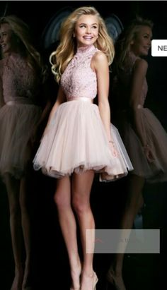 Pretty baby pink quinceañera damas dress