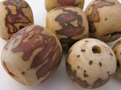 3 African Palm Beads Organic Beads Vegetable by EcoBeadsTagua, $7.00
