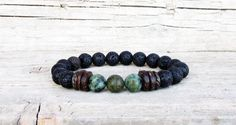 Black Lava Stone and African Turquoise Bracelet by DiaStyle