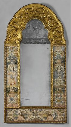 Mirror Date: third quarter 17th century Culture: British Medium: Silk on satin Dimensions: H. 59 1/2 x W. 31 inches (151.1 x 78.7 cm) Classification: Textiles-Embroidered Credit Line: Gift of Irwin Untermyer, 1964 Accession Number: 64.101.1333