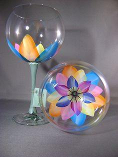One Pair of Kaleidoscope Ballon Red Wine Glasses