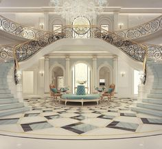 Luxury Mansion Interior Grand Double-Staircased Foyer Design   Checkout @PharaohsLegacy for More Unique Homes