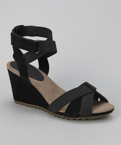Another great find on #zulily! Black Crisscross Alias Wedge Sandal by Geox #zulilyfinds