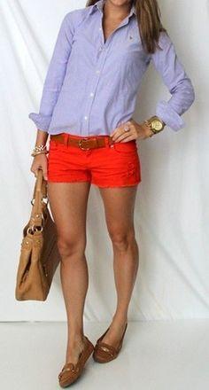 Button up, belt, orange shorts. Stitch fix. Preppy 2016 Button up, belt, orange shorts. Stitch fix. 4th Of July Outfits, Preppy Outfits, Preppy Style, Short Outfits, Spring Outfits, Cute Outfits, Fashion Outfits, Fashionable Outfits, Unique Outfits