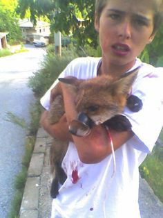 This is a picture of Luke Rowles when he was 15. He saw a group of men in a garden, kicking and beating this poor fox whose mouth had been sealed shut with duct tape. Lucas went straight to them without regard to his own safety, he shouted at the men and grabbed the fox. After healing his wounds, he freed the animal. Today, Luke continues rescuing animals for the RSDR - The world needs more brave people like Luke, with an unconditional will to help those in need.