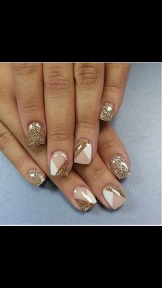Nail art...white and gold! Love.