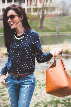 Classy Girls Wear Pearls: Flower Showers | Classic navy with white polka dots and jeans