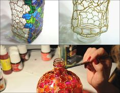 looks like stained glass, paint the glass with metal colored pain then use glass paint to make it look like stained glass art. by dorothea Glass Bottle Crafts, Wine Bottle Art, Painted Wine Bottles, Diy Bottle, Painted Wine Glasses, Bottles And Jars, Glass Jars, Glass Painting Designs, Stained Glass Paint