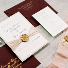 Gold Foil and Marbled Silk Ribbon Wedding Invitation by Third Clover Paper Photo: Renee Hollingshead