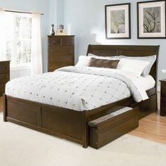 Atlantic Furniture Bordeaux Platform Bed with Flat Panel Footboard in Antique Walnut