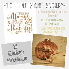 Fun giveaway going on at The Copper Anchor. Come check it out!! http://www.thecopperanchor.com/blog/2014/10/16/a-fall-giveaway