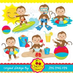 Summer Beach Time Monkeys For Boys By Cherryclipart