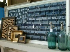 Denim Visual Merchandising_pure americana US flag made from recycled jeans! Denim Decor, Denim Art, Jean Crafts, Denim Crafts, Wood Crafts, Recycled Denim, Recycled Crafts, Denim Kunst, Denim Furniture