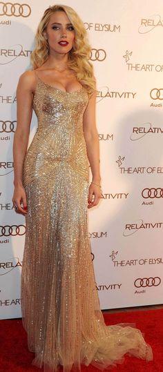 Amber Heard in Donna Karan gown