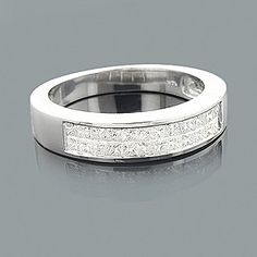 Mens Princess Cut Diamond Wedding Ring 1.39ct 14K $1265