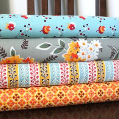 Aqua Grey and Orange Flower Fabric, Flea Market Fancy From Free Spirit, 1 Yard Bundle, 4 Prints, 4 Yards Total