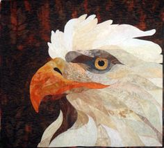 """Eagle quilt by Sue Souhrada, a student in one of David Taylor's """"Photos to Quilts Pictorial Appliqué"""" workshops"""