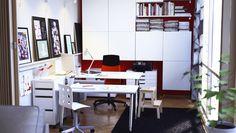 Arbeitsplatz mit GALANT Schreibtischen weiß/verchromt, VOLMAR Drehstuhl mit Armlehnen in Orange, JULES Juniorstuhl weiß/silberfarben, TRÅL A...