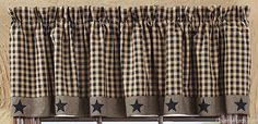 Black Applique Star Curtain Valance