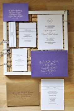 Letterpress Invitation Suite: Lace Blind (debossed) Impression with Monogram, Gold Ink, Purple Envelopes with Golden Calligraphy from Laura Hooper, Belly Band and Gold Envelope Liners (Christa Alexandra Designs)