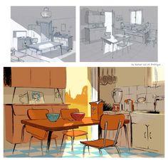 Ma maman est en Amérique, elle a rencontré Buffalo Bill by Pascal Valdes Game Background Art, Studio Ghibli Background, Animation Background, Bg Design, Prop Design, Environment Concept Art, Environment Design, Animation 3d, Architecture Drawing Art