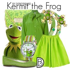 Kermit the Frog by leslieakay on Polyvore featuring CÉLINE, FS/NY, Disney, Betsey Johnson and French Connection
