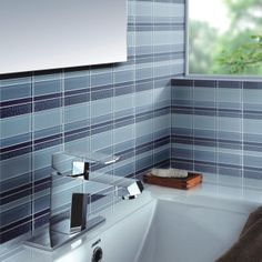 #MosaicMonday - The Reflections Meridian has a blue pattern with a retro feel that isn't dated.  The mixture of smooth and textured glass is fascinating and soothing.