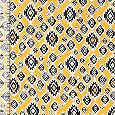 Mustard Black Small Ethnic Diamonds Cotton Jersey Blend Knit Fabric