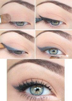 Soft cat eye make-up.
