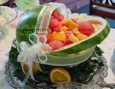 watermelon fruit baby carriage with white sheer ribbon