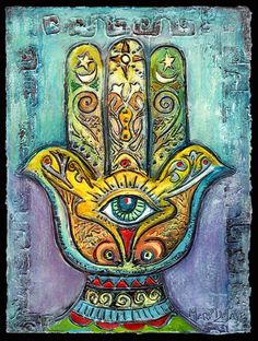 """✯ Magickal Ritual Sacred Tools: The hamsa hand (Arabic) or hamesh hand (Hebrew) is an old and still popular talisman for magical protection from the envious or Evil Eye. The words """"hamsa"""" and """"hamesh"""" mean """"five"""" and refer to the digits on the hand. An alternative Islamic name for this charm is the Hand of Fatima, in reference to the daughter of Mohammed. An alternative Jewish name for it is the Hand of Miriam, in reference to the sister of Moses and Aaron :: Artist Mary DeLave ✯"""
