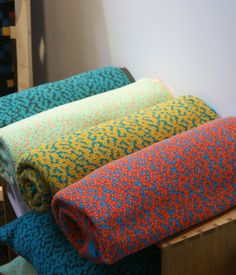 """""""Key Trends From 2013 London Design Festival - Over at independent trade show designjunction, the bold color combinations of Barcelona-born, London-based Cristian Zuzunaga's Labyrinth blankets caught our eye."""
