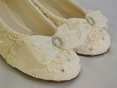Darling Lacey Ballet flats... perfect for Quinceanera ceremony .... personal design made specially for you..US sizes 3 - 12