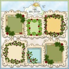 Christmas Greenery Doodle Frames 1 - NE Cheryl Seslar Clip Art