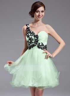 A-Line/Princess One-Shoulder Short/Mini Tulle Homecoming Dress With Ruffle Lace Beading Sequins (022011005)