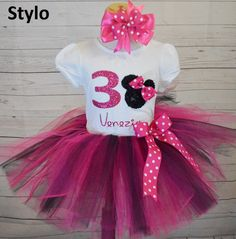 pink and black minnie mouse outfit, birthday outfit,birthday girl outfit,minniemouse birthday tutu,girl birthday outfit by Stylotutuboutique on Etsy