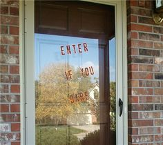 #Cricut - Add some blood on the glass door!    Project Center - A Frightful Affair Contest--Vinyl Door Decor