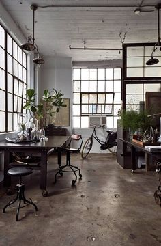 My perfect home office and studio with concrete, black window frames, black furniture and factory windows Industrial Interiors, Industrial House, Industrial Style, Industrial Windows, Vintage Industrial, Industrial Furniture, Industrial Workspace, Industrial Apartment, Industrial Design