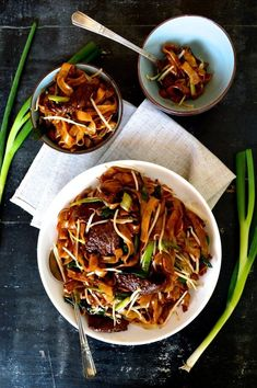 Beef chow fun is a favorite and popular Cantonese dish. Beef Chow fun is made from stir-fried beef,rice noodles, scallions,ginger, bean sprouts and dark soy