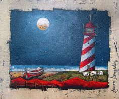 Annette Dannhauser - Lighthouse x (SOLD) Paint And Sip, Art For Kids, Folk Art, Art Gallery, Pastel, Lighthouse, Artist, Projects, Paintings