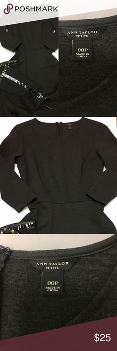 """Ann Taylor Long Sleeve Fit Flare Dress In excellent condition, this Heather Gray  Dress by Ann Taylor includes a rounded neckline, 3/4 sleeves and a drop waistline.  Measurements include: Length:  33"""" Bust: 14"""" and Waist 13.5"""".  Great with boots, belt and fashionable necklace. Ann Taylor Dresses Midi"""